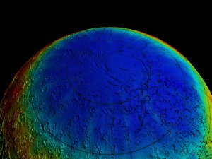 Mars Odyssey Epithermal Neutron Data overlayed on MGS/MOLA Topography Data (Flyover, Smoothed)