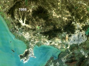 Shenzhen, China Land Use - True Color Fade 1988 to 1996 (With Dates)