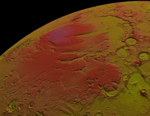 MOLA: Seasonal Snow Variations on Mars, Fast Zoom out from Martian South Pole: False Color