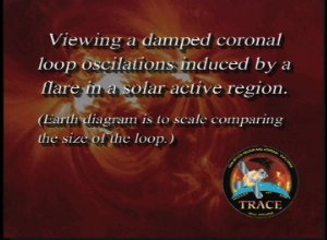TRACE: Viewing a Coronal Loop with a Diagram of the Earth for Scale.