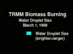 TRMM Biomass Burning: Water Droplet Size March 1, 1998