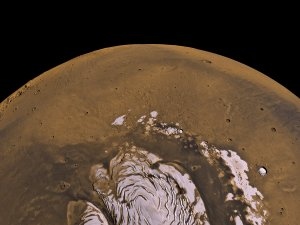 Mars Odyssey Epithermal Neutron Data overlayed on MGS/MOLA Topography Data (Flyover, Viking True Color)