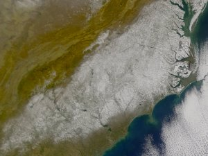 Snow Covers the Southeastern United States - January 4, 2002