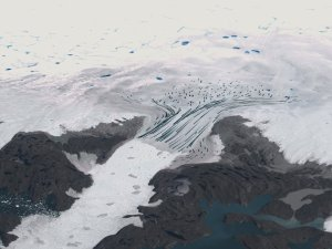 Jakobshavn Glacier Flow in the year 2000 and Calving Front Retreat from 2001 to 2006