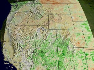 NDVI Anomalies Show Areas of Likely Drought in the Western US (wide view)
