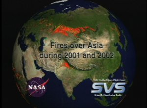 Fires over Asia during 2001 and 2002
