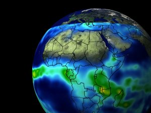 TRMM Monthly Rainmap Wrapped to a Sphere
