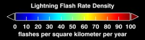 Global Lightning Flash Rate Density (WMS)