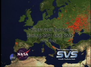 Fires over Europe during 2001 and 2002 with Clock