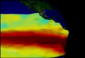 El Niño Zoom to Sea Surface Temperature and Height Anomaly on a Globe: Jan. 1997 through Dec. 1997