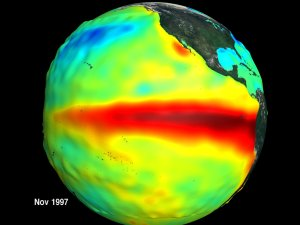Sea Surface Height and Temperature Anomalies on a Globe: The Pacific Ocean