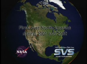 Fires over North America during 2001 and 2002
