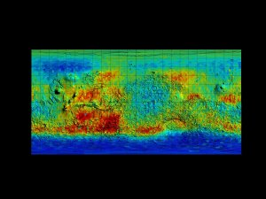 Mars Odyssey Epithermal Neutron Data overlayed on MGS/MOLA Topography Data (Flat, Unsmoothed)