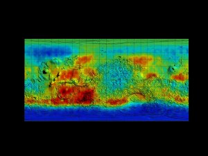 Mars Odyssey Epithermal Neutron Data overlayed on MGS/MOLA Topography Data (Flat, Smoothed)
