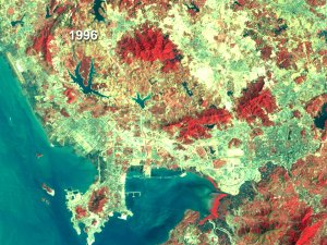 Shenzhen, China Land Use - False Color Fade 1988 to 1996 (With Dates)