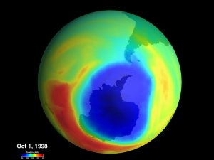Total Ozone Over Antarctica from TOMS: September 19, 1998 and October 1, 1998 (with color bar and dates)