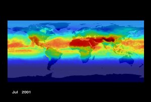 Erythemal Index for August 2000 through July 2001: Full Earth (With Dates)