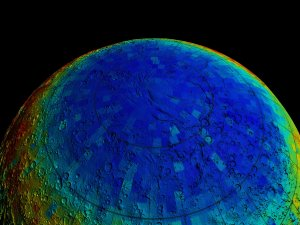 Mars Odyssey Epithermal Neutron Data overlayed on MGS/MOLA Topography Data (Flyover, Unsmoothed)
