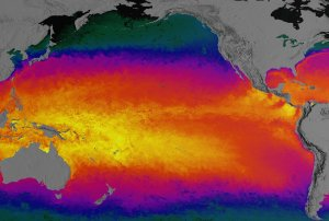 A Pacific View of Sea Surface Temperature from MODIS for February 15, 2002