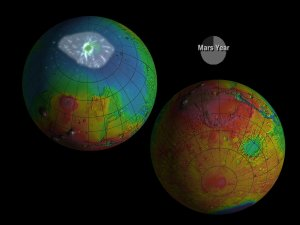 MOLA: Seasonal Snow Variations on Mars, clouds at both poles, with dates, with contours