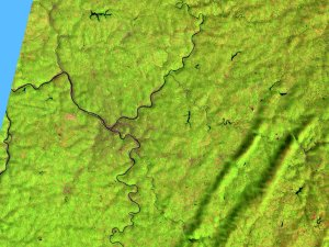 Pittsburgh (542) with terrain data, x 3 exaggeration.