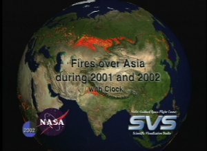 Fires over Asia during 2001 and 2002 with Clock