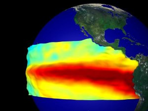 El Niño Sea Surface Temperature and Height Anomaly on a Globe: January 1997 through August 1998