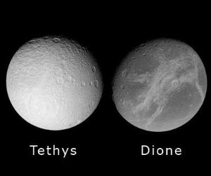 Tethys and Dione, side by side