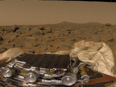 MRPS #80811 (Sol 1) Pathfinder's rover, airbags, & Martian terrain
