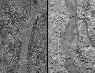 Comparison of Ganymede and Europa features