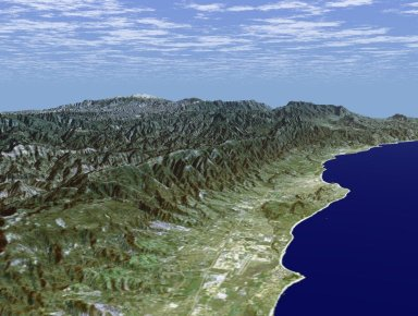Perspective View with Landsat Overlay Santa Barbara, California
