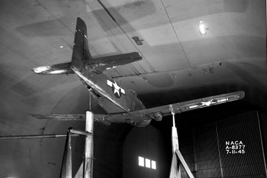BT2D- 1 Airplane: Full scale model in wind tunnel.