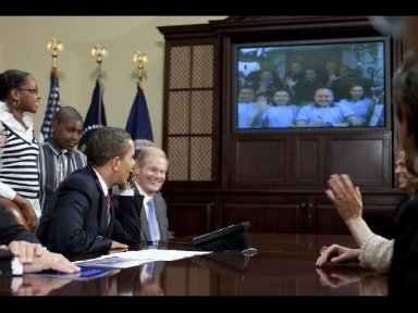 President Obama Talks With Shuttle and Station Crews