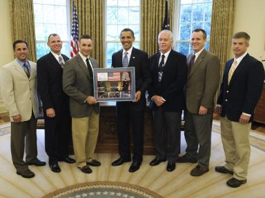 STS-119 Crew Presents Montage to President Obama