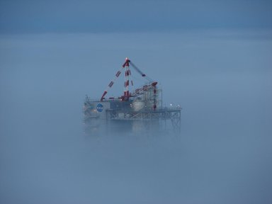 Test Stand A-2 Peering Out from the Fog