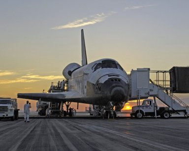 Shuttle Discovery Rests on the Runway at Edwards Air Force Base in California.