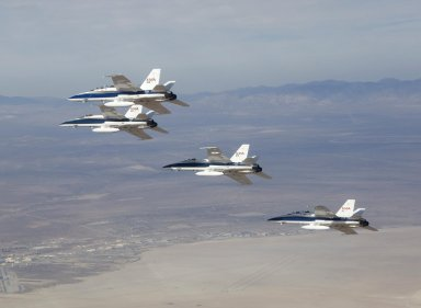 Four F-18s in Echelon Formation