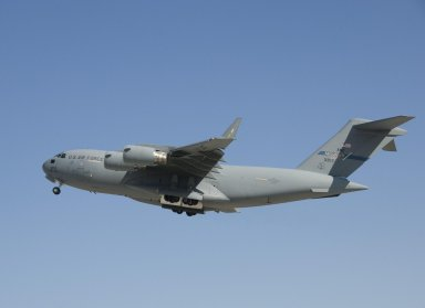 C-17 with Orion CM Aboard Takeoff