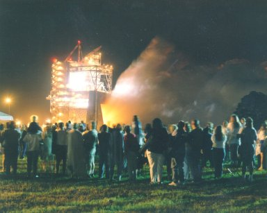 First-ever evening public engine test of a Space Shuttle Main Engine