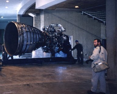 Shuttle Main Engine Readied for Display at Stennis