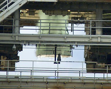 SSME test on the A-1 Test Stand
