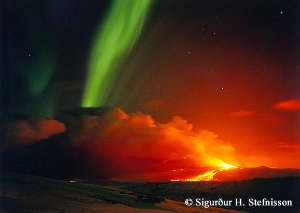 Volcano and Aurora in Iceland