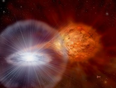 Explosions from White Dwarf Star RS Oph