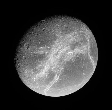 Bright Cliffs Across Saturn's Moon Dione