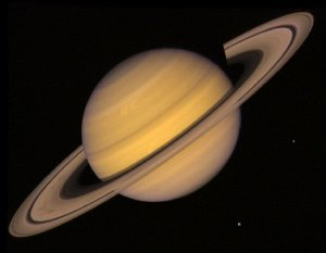 Saturn, Rings, and Two Moons