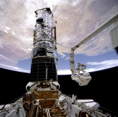 Hubble Docked with the Shuttle Endeavor