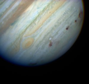 Color Hubble Image of Multiple Comet Impacts on Jupiter