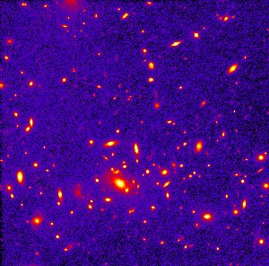 Distant Heavyweight Galaxy Cluster Clobbers Dense-Universe Theory