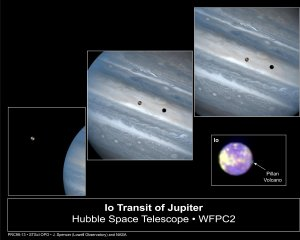 Hubble Clicks Images of Io Sweeping across Jupiter