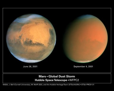 HST image of a Perfect Storm on Mars